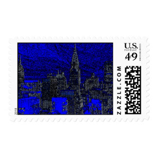 Blue Black Pop Art New York City Silhouette Stamps