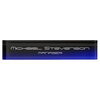 Blue Black Professional Modern Desk Nameplate
