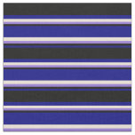 [ Thumbnail: Blue, Black, Purple, and Bisque Stripes Pattern Fabric ]