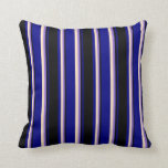 [ Thumbnail: Blue, Black, Purple, and Bisque Stripes Pattern Throw Pillow ]
