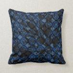 Blue Black Quatrefoil Camo Pattern Throw Pillow