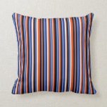 [ Thumbnail: Blue, Black, Red, Light Cyan Stripes Pattern Throw Pillow ]