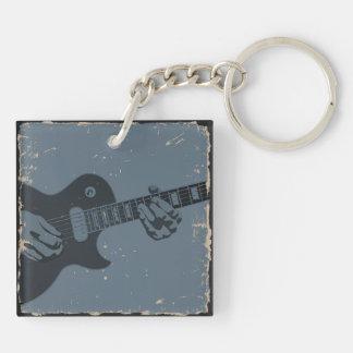 Blue & Black Rustic Guitar Player Keychain