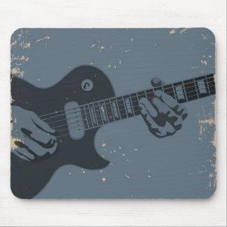 Blue & Black Rustic Guitar Player Mouse Pad