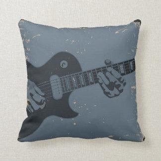Blue & Black Rustic Guitar Player Throw Pillow