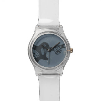 Blue Black Rustic Guitar Player Watch