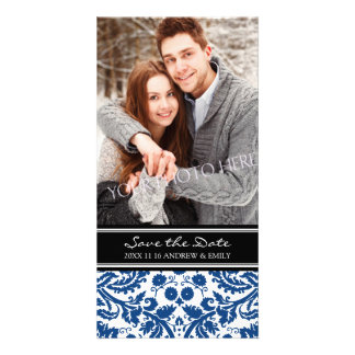 Blue Black Save the Date Wedding Photo Cards