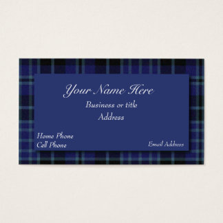 Blue & Black Scottish Tartan Plaid Business Card