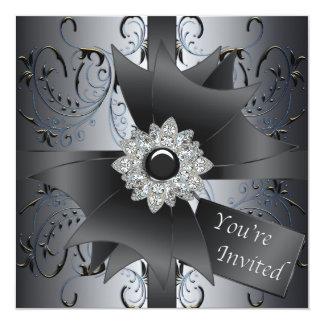 """Blue Black Silver Black Tie Party 5.25"""" Square Invitation Card"""