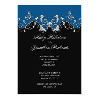 Blue Black Silver Butterflies Post Wedding Card