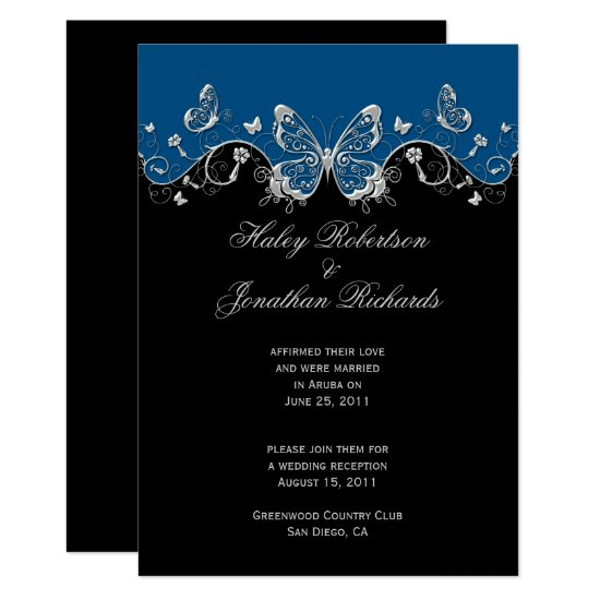 Blue Black Silver Butterflies Post Wedding Invitation