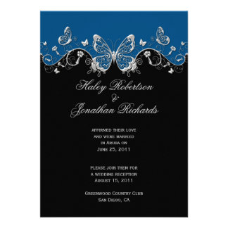 Blue Black Silver Butterflies Post Wedding Personalized Announcement