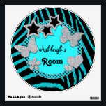 """Blue Black Silver Glitter LOOK Zebra Wall Decal<br><div class=""""desc"""">This chic and trendy customizable wall decal has an aqua blue faux glitter (PRINTED) and black zebra print animal stripes with a polka dots pattern and silver faux glitter (PRINTED) butterflies, stars, hearts, and a funky flower, with text boxes to put a name and other text (room, rocks, etc.) on...</div>"""