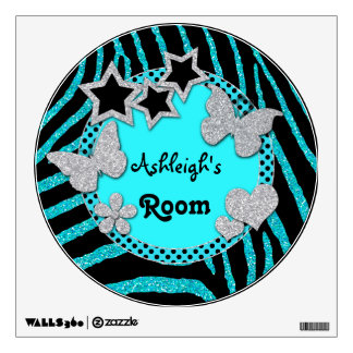 Blue Black Silver Glitter LOOK Zebra Wall Decal