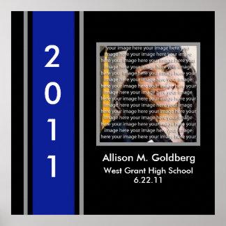 Blue, Black & Silver School Graduation Framed Art Poster