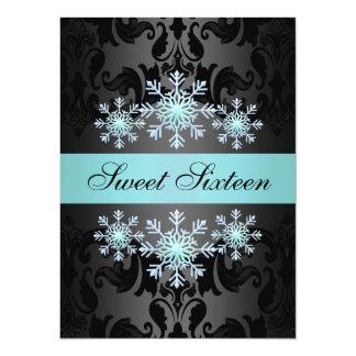 Blue & Black Snowflake Sweet16 Birthday Invite