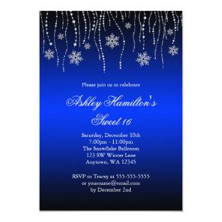 Blue Black Snowflakes Sweet 16 Winter Wonderland 5x7 Paper Invitation Card