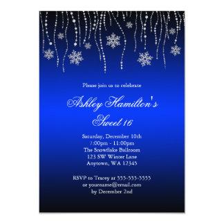 Blue Black Snowflakes Sweet 16 Winter Wonderland 4.5x6.25 Paper Invitation Card