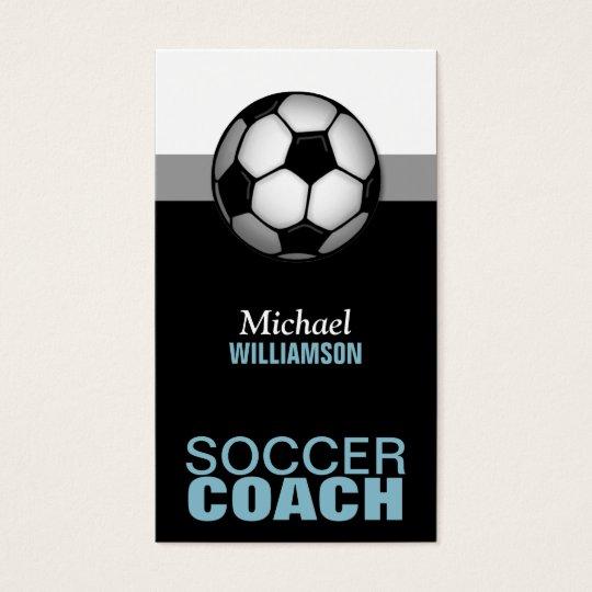 Blue & Black Soccer Coach Business Cards