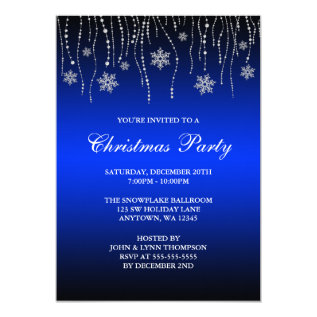 Blue Black Sparkle Snowflakes Christmas Party Card at Zazzle