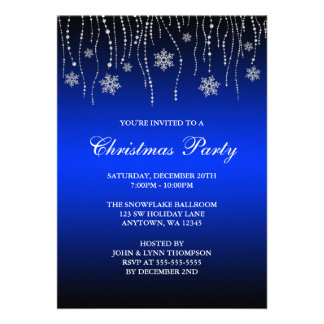 Blue Black Sparkle Snowflakes Christmas Party Personalized Invitations