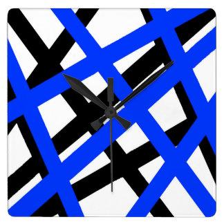 Blue Black Stripe Geometric Square Wall Clock