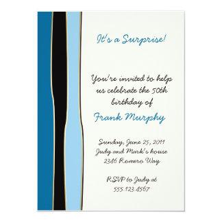 Blue Black Stripes Birthday Invitation