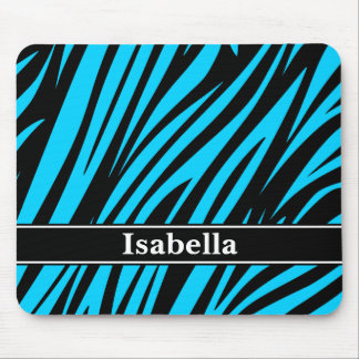 Blue Black Stripes Pattern Mouse Pad