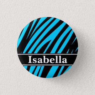 Blue Black Stripes Pattern Pinback Button