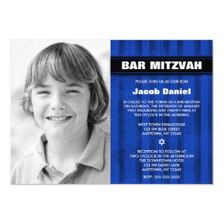Blue Black Stripes Photo Bar Mitzvah Invitations