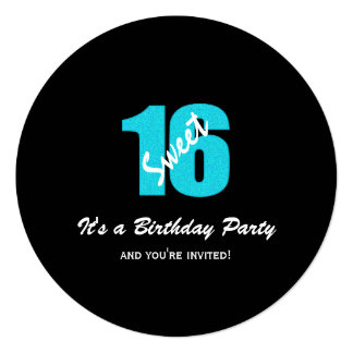 Blue Black Sweet 16 Party Round Invitations