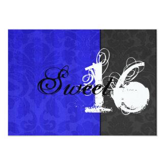 """Blue & Black Sweet Sixteen Invitations 5"""" X 7"""" Invitation Card"""