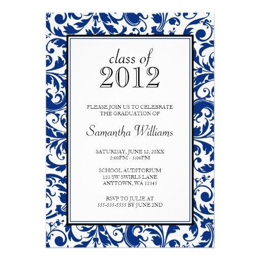 Blue Black Swirl Damask Graduation Announcement