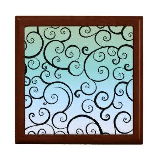 Blue & Black Swirls Trinket Box