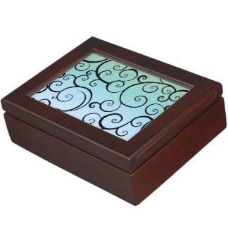 Blue & Black Swirls Memory Box