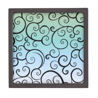 Blue & Black Swirls Premium Keepsake Boxes