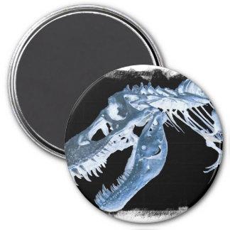 Blue & Black T-Rex X-Ray Bones Photo 3 Inch Round Magnet