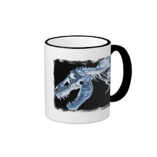 Blue & Black T-Rex X-Ray Bones Photo Ringer Coffee Mug
