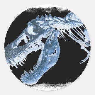 Blue & Black T-Rex X-Ray Bones Photo Round Sticker