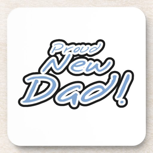 Blue/Black Text Proud New Dad Gifts Coasters