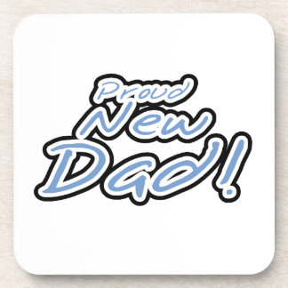 Blue/Black Text Proud New Dad Gifts Drink Coaster