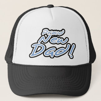 Blue/Black Text Proud New Dad Trucker Hat