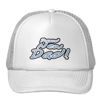 Blue/Black Text Proud New Dad Tshirts and Gifts Trucker Hat