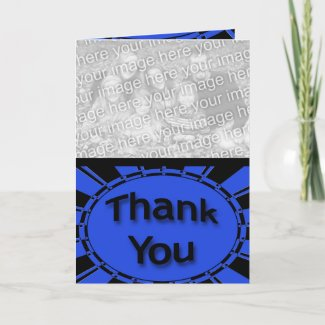 blue black Thank You card