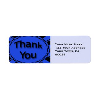 blue black Thank You label