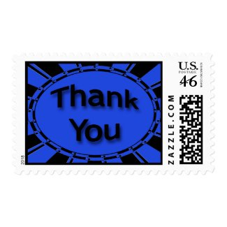 blue black Thank You stamp
