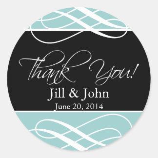 Blue Black Thank You Wedding Favour Label Sticker