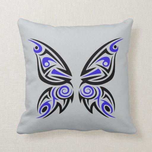 Black Tribal Throw Pillow : Blue Black Tribal Tattoo Design Throw Pillow Zazzle