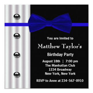 Blue Black Tuxedo Bow Tie Mens Birthday Party Card