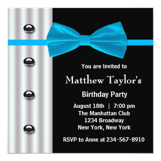 Blue Black Tuxedo Bow Tie Mens Birthday Party Invi Card